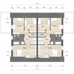 Abbildung Grundriss Haustyp Prima OG