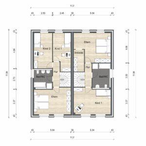 Abbildung Grundriss Haustyp Optima OG 01
