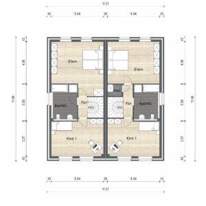 Abbildung Grundriss Haustyp Optima OG 02
