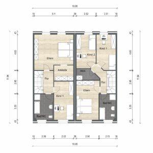Abbildung Grundriss Haustyp Optima OG 03